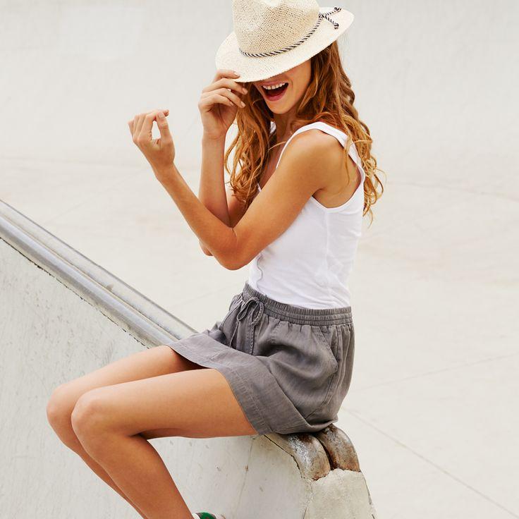 Rib Placket Cami, Staple Panama and Ebony Utility Skirt. #panamahat #cottonon #streetfashion