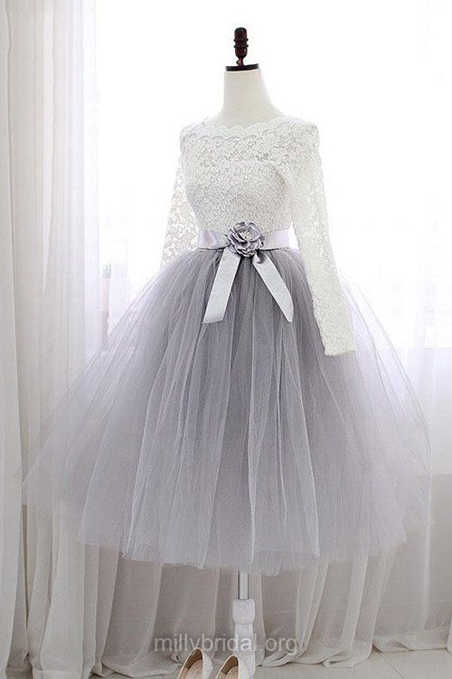 Sweet Short Homecoming Dresses,A-line Scalloped Neck Lace Cocktail Dresses,Tulle Sashes / Ribbons Knee-length Graduation Dress,Long Sleeve Prom Dresses