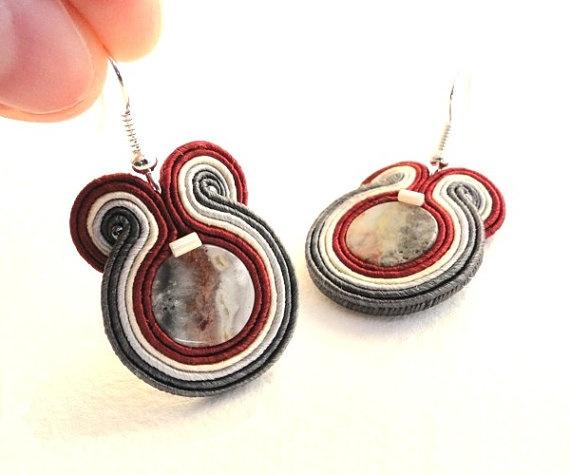 Soutache earrings beaded earrings with black silver by soStudio, $28.00