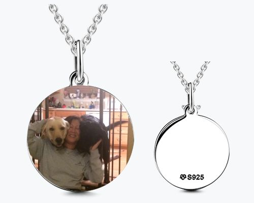 Round Personalized Photo Engraved Necklace 925 Sterling Silver