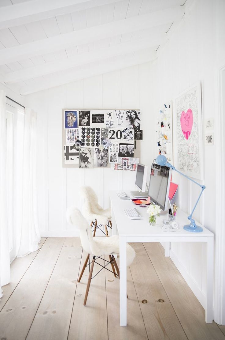 white parson desk and mid century modern chair in a home office workspace