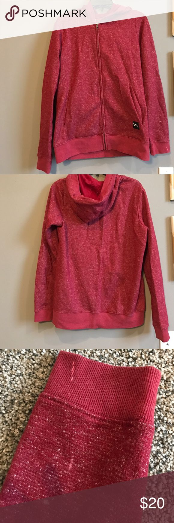 RVCA red zip up sweatshirt Hooded sweatshirt zip up. See all pics. Missing hoodie string and little bleach stains on left arm RVCA Jackets & Coats