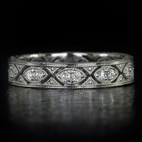 Art Deco Eternity Diamond Wedding Band Stack-able Vintage Antique Engraved Filigree Milgrain Round Marquise 14K White Gold 8120