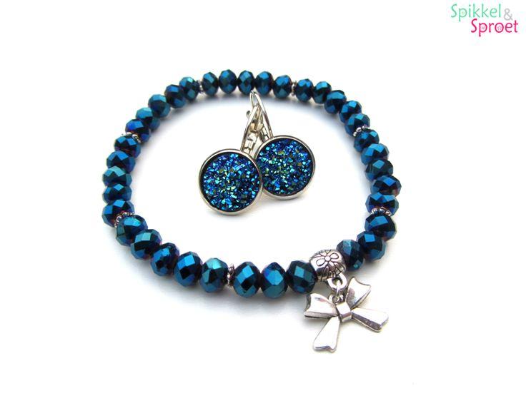 Sieradenset Oorbellen Armband Blauw bedel Strik Glitter