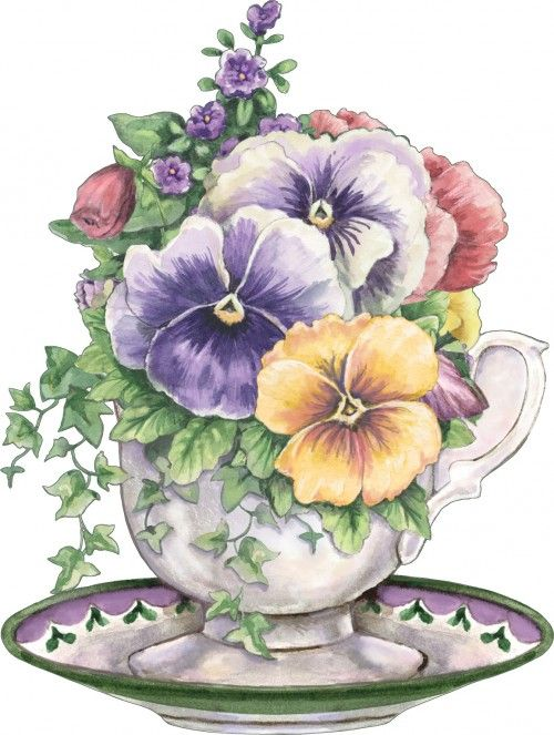 Flowers of month in coffee cups? --pinned from brenda