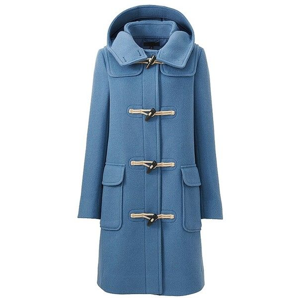 UNIQLO Wool Blend Duffle Coat ($120) ❤ liked on Polyvore featuring outerwear, coats, duffle coat, knee length coat, uniqlo coats, toggle coats and blue coat