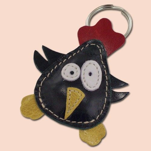 Little dark green chicken keychain