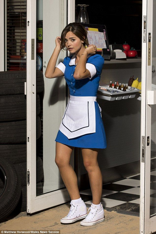 Under cover? The 29-year-old actress wore a blue dress with a white apron for her scenes and added a pair of white Converse