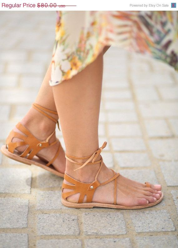 35% Off Crete Lace Up Natural Leather Sandals by TheMerakiCompany