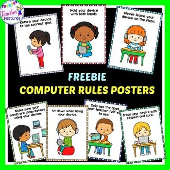 FREEBIE 7 Adorable Technology Rule posters to help your students remember best practices when handling iPads, chrome books and digital devices.
