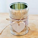 """Easy DIY idea- simple and charming option for rustic wedding decor! Any kine size or shape soup, veggies, tomato sauce, etc would work, and you could """"weather"""" them by leaving the outside.  Just a thought.  Everyone can go Dumpster Diving, in fact it was fast as lightening! HAHA"""
