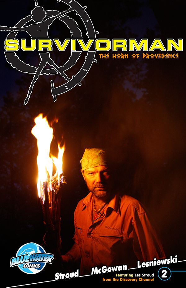 """Les Stroud's: Suvivorman: The Horn of Providence #2B. Les """"Survivorman"""" Stroud boards the newly christened Mayflower 2 for an action packed journey at sea.  Oswald is still at large with the Horn, but Les and his associates are poised to get it back.  Will they brave the elements and achieve their goals?  Find out in Survivorman: The Horn of Providence issue #2."""