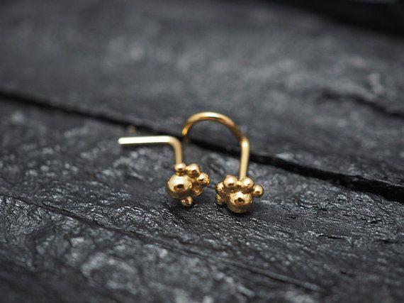 22 Gauge Gold Semi Circle Nose Stud Paw Nose Screw Nose Ring