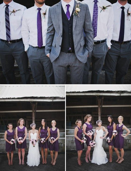 purple and grey. I love the fact that the groomsmen aren't wearing jackets or matching ties! But they need vests