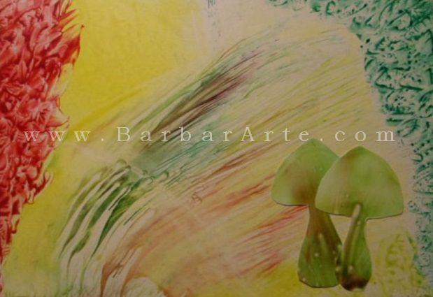 Setas. Pintura encáustica y colage sobre papel. / Mushrooms. Encaustic painting and collage on paper.