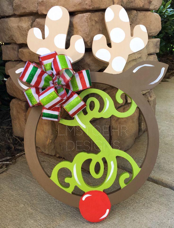 Prancing Reindeer Monogram || Christmas Wreath Hanger || Happy Holidays || Door Decor || Merry Christmas! || Wooden Monogram || by LMStoehrDesigns on Etsy https://www.etsy.com/listing/188383293/prancing-reindeer-monogram-christmas