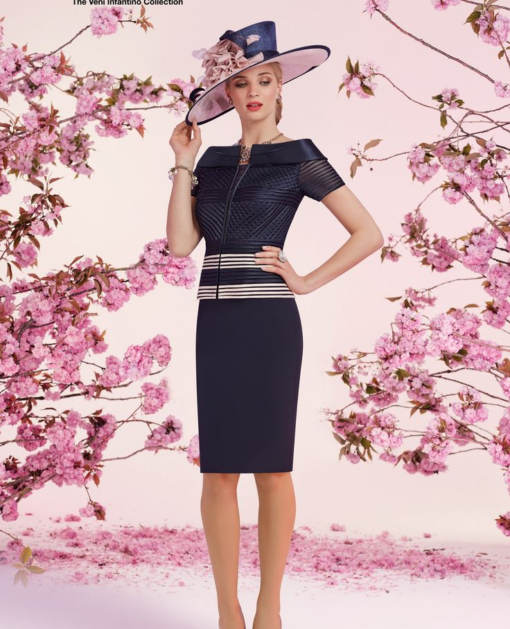 Ronald Joyce Dress 991244, colour Navy / Blush.