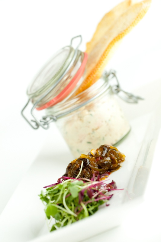 Starter - smoked trout mousse in a little kilner