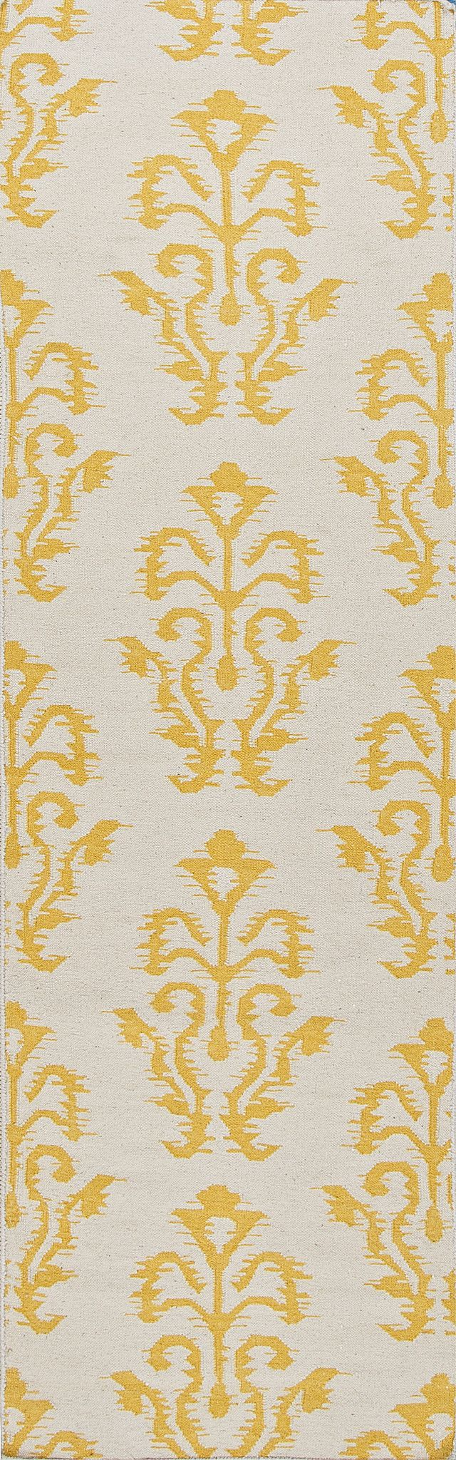 Jaipur Rugs FlatWeave Tribal Pattern Ivory/Yellow Wool Area Rug UB14  (Runner)