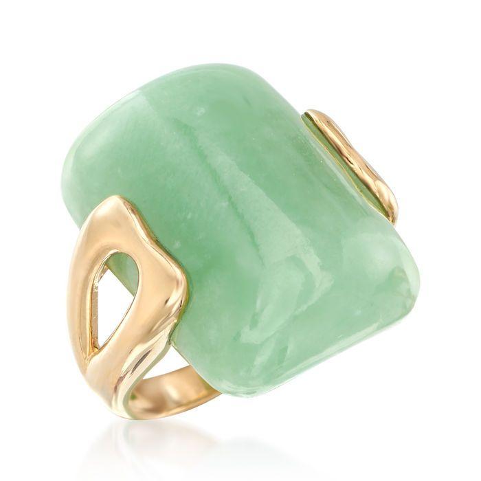Ross-Simons Rectangular Green Jade Ring in 14kt Yellow Gold