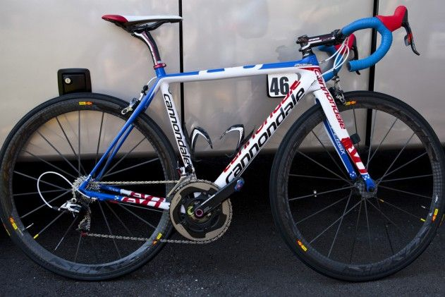 "Tim Duggan's Cannondale SuperSix EVO with ""US National Champion"" custom graphics (from velonews)."