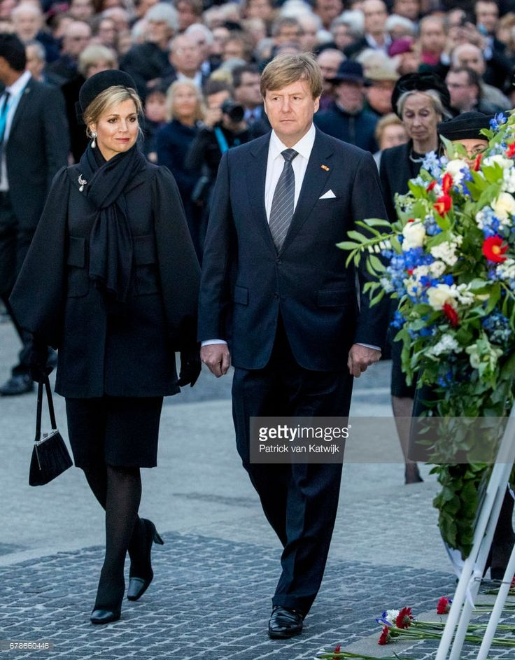 King Willem-Alexander and Queen Maxima of The Netherlands attend the National Remembrance ceremony at the National Monument on Dam Square on May 04, 2017 in Amsterdam, Netherlands. The ceremony is held annually and commemorates all civilians and members of the armed forces of the Kingdom of the Netherlands who have died in wars or peacekeeping missions since the outbreak of World War. (Photo by Patrick van Katwijk/Getty Images)