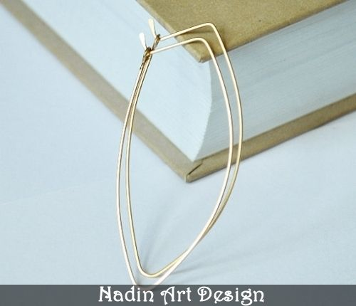 Gold Petal Earrings. Leaf Hoop Earrings from NadinArtDesign by DaWanda.com