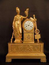 Антикварная французская империя позолоченной бронзы каминные часы с богиня урожая и арт-c