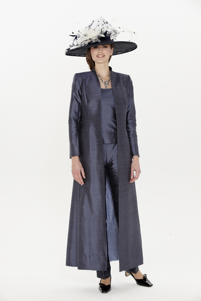 Mother of the Bride | Mother of the Groom | Dresses | Outfits ,Florentyna Dawn Bespoke Navy Silk Trouser Set with Long Coat (FD073)