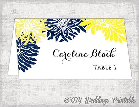 DIY Yellow and navy Gerber Daisy Flower place card template for you to make your own tent style wedding name cards for your reception tables with a floral design, perfect for a yellow and navy wedding.    Just add your own text, print and trim. You can print as many as you like. You can use this template in Word or any other program that allows you to add text on top of a JPG image.    See other wedding place card templates in my shop https://www.etsy.com/your/shops/d...