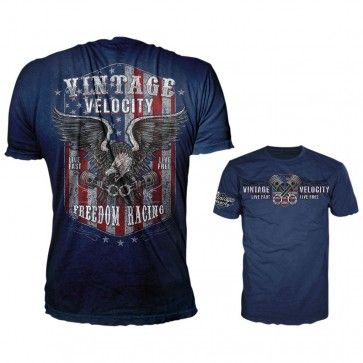 Lethal Threat Vintage Velocity Freedom Racing USA Casual Blue Mens T-Shirts