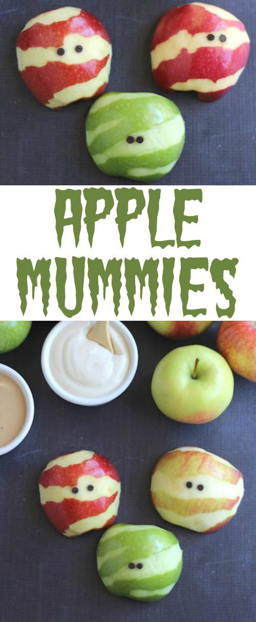 Perfect for Halloween parties, spook-tacular fruit trays, or fun after-school snacks! These adorable Apple Mummies are such an easy, healthy Halloween treat! Your little ghosties will gobble them up! | www.TwoHealthyKitchens.com