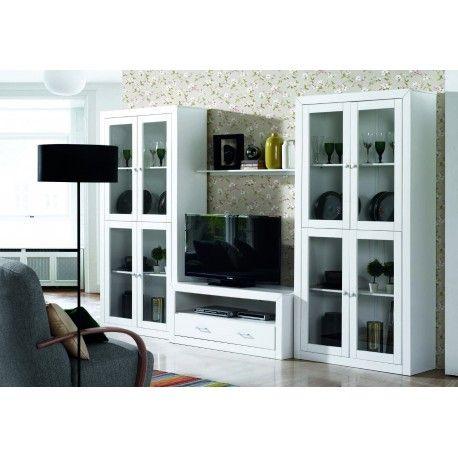 El Mueble composición de salón,sala,libreria,apilable lacado blanco está compuesto por una vitrina de cuatro puertas,un modulo de televisión con un cajón,dos estantes de pared fabricado en el interior de madera maciza alistonada de pino y el esterior fabricado en MDF lacado blanco.