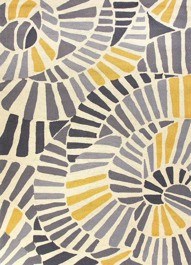 Handmade Abstract Pattern Gold Grey Polypropylene Area Rug X