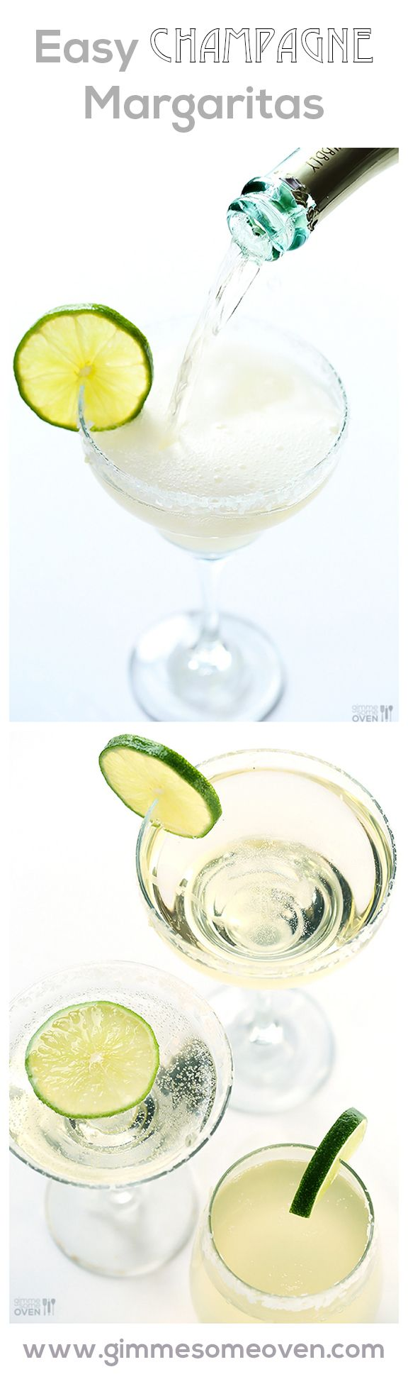 Champagne (Sparkling!) Margaritas -- a quick and easy drink that's perfect for New Year's Eve! gimmesomeoven.com #newyears