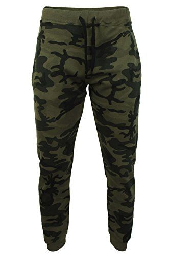 Mens Xact Slim Fit Joggers Made In England (Camo Green) M