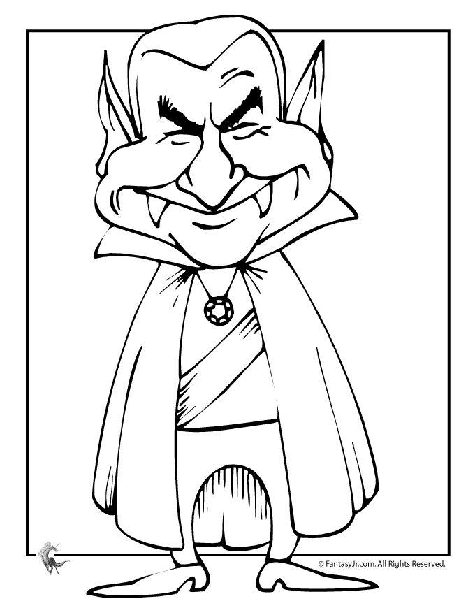 Dracula Cartoon Halloween Coloring Page