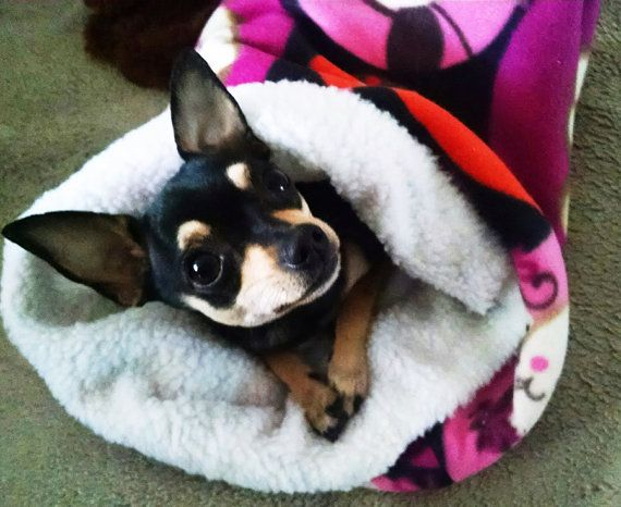 Dog Cuddle Bed Sack snuggly dog bed fleece and faux by miascloset