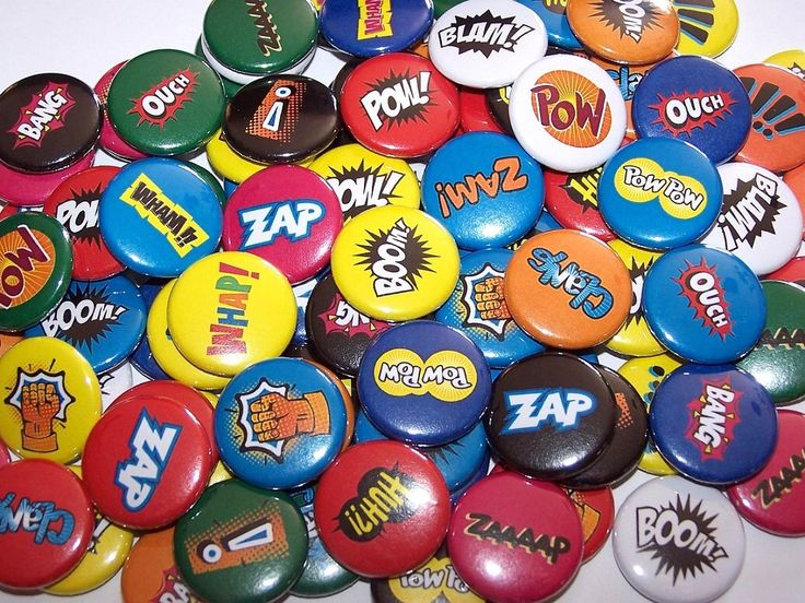 "Comic Book Sound Effects Words Set of 10 Buttons 1"" or 1.5"" or 2.25"" Pinback Buttons or 1"" Magnets Superhero Super Hero by DistinctDesignsUnltd on Etsy https://www.etsy.com/listing/159304951/comic-book-sound-effects-words-set-of-10"