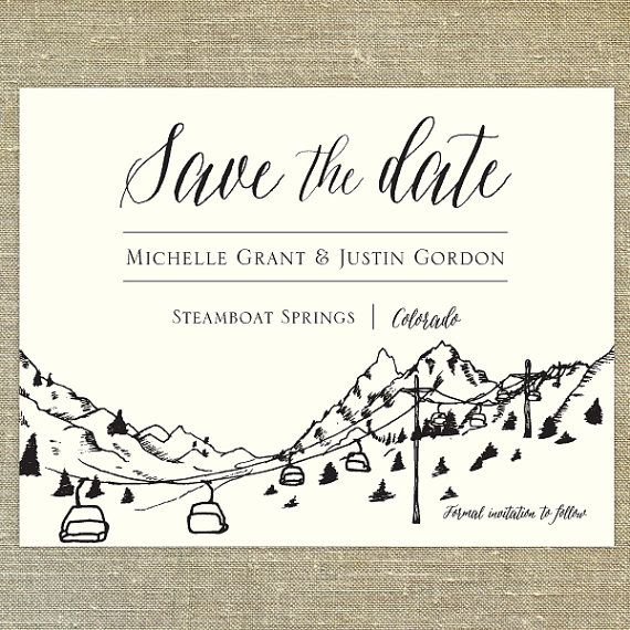 Ski Resort Skyline Destination Save the Date SAMPLE calligraphy; Steamboat Springs, Colorado, Jackson Hole Wyoming Aspen, Vail, Breckenridge