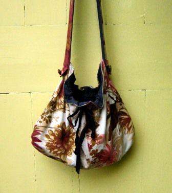 "Bow Bag, 1ydx12"" main fabric, 1ydx12"" lining fabric (old jeans), 1yd ribbon, 5"" elastic, a dinner plate."
