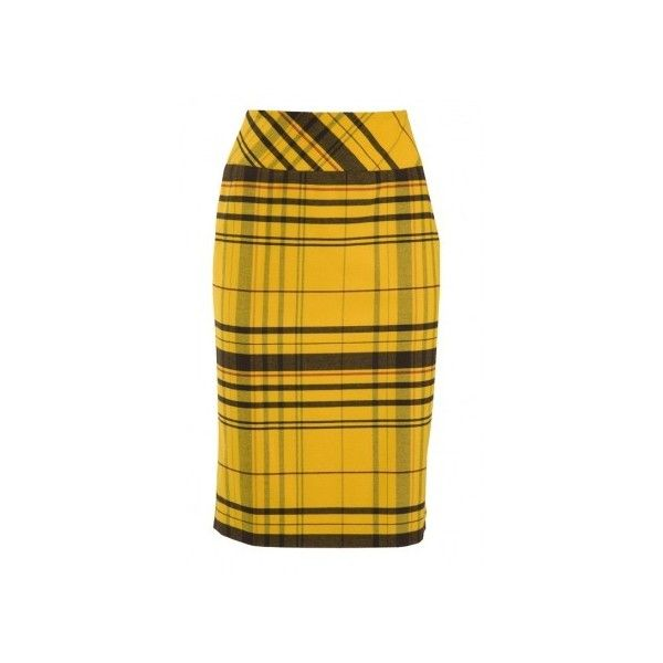 Yellow Tartan Pencil Skirt by Harry WHO ($180) ❤ liked on Polyvore