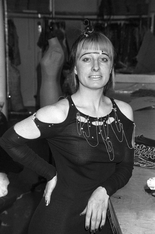 Zandra Rhodes in her own punk-influenced design, 1977