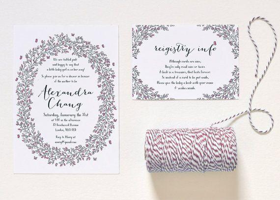 Pink Baby Girl Shower Invitation Set Leaf and by DesignsAC