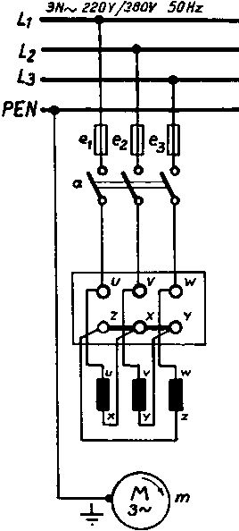 Three-phase motor with star-delta connection (delta connection)