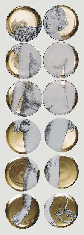 """Coleccion de platos de porcelana """"Adomo""""del artista italiano Piero Fornasetti. En Lima solo en www.italier.pe"""