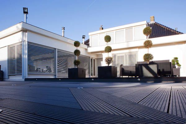 Outside terrace made from Stone Grey UPM ProFi Deck in Landsmeer, Netherlands