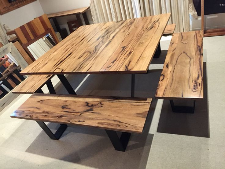 Dining Table And Matching Bench Seats Made From Marri Hardwood Timber Black Powder Coated Legs