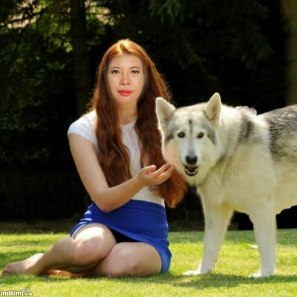 A Lady And Her Dire Wolf: Beautiful Lady With Wolf
