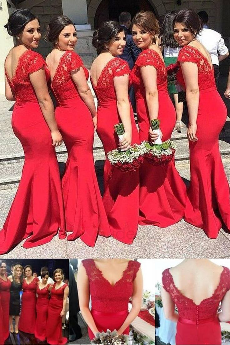 Mermaid V-Neck Lace Long Red Bridesmaid Dresses/Wedding Party Dresses BD010039